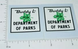 Buddy L Parks Department Truck Sticker Set