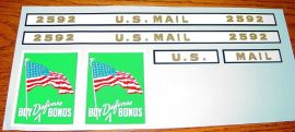 Buddy L US Mail Defense Bonds Truck Sticker Set