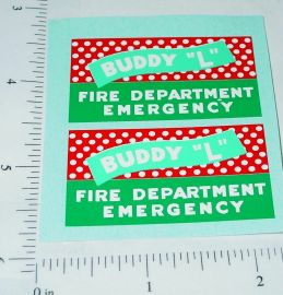 Buddy L Fire Department Emergency Truck Stickers
