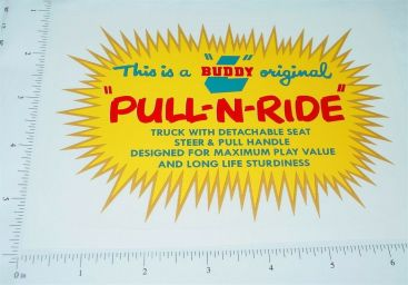 Buddy L Pull N Ride Seat Replacement Sticker Main Image