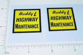 Buddy L Hiway Maintenance Vehicle Stickers