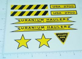 Nylint Uranium Hauler Vehicle Sticker Set