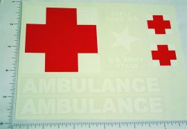 Nylint Army Anbulance Truck Stickers