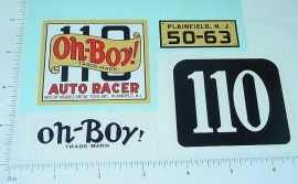 Kiddie Toy Co. Oh Boy #110 Racer Sticker Set
