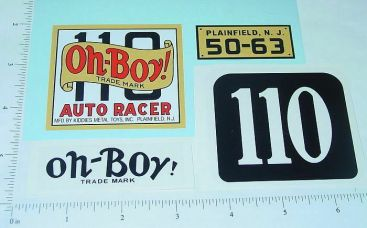 Kiddie Toy Co. Oh Boy #110 Racer Sticker Set Main Image