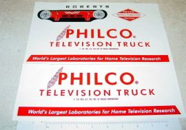 Roberts Philco TV Van Sticker Set