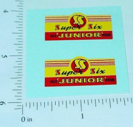 Super Six Junior Tractor/Loader Toy Stickers