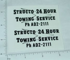 Structo 24 Hour Towing Service Stickers