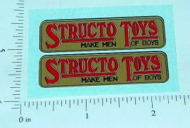 Structo Toys Red on Gold Logo Stickers