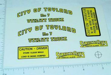 Structo Toyland Garbage Utility Truck Stickers Main Image