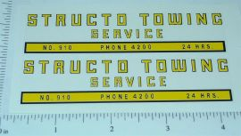 Structo #910 Towing Service Stickers