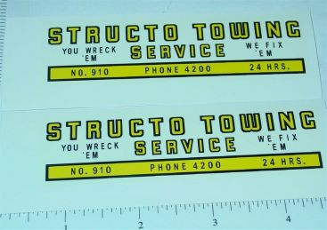 Structo #910 U Wreck Em Tow Truck Stickers Main Image
