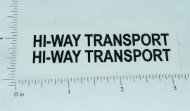 Structo Hiway Transport Semi Trailer Stickers