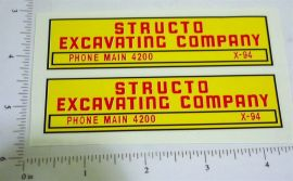 Structo Excavating Company Dump Truck Stickers