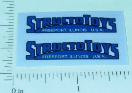 Pair Structo Toys Blue  Door Logo Stickers