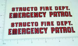 Structo Fire Department Emergency Van Stickers