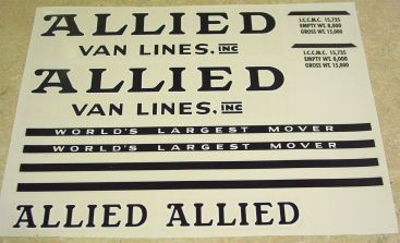 Tonka Allied Moving Semi Truck/Trailer Stickers Main Image
