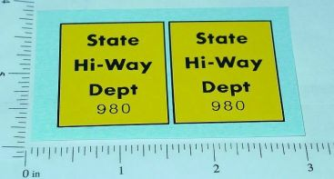 Tonka State Hiway Dept. 980 Stickers Main Image