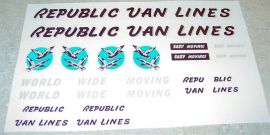 Tonka Republic Van Lines Semi Truck Sticker Set