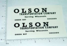 Tootsietoy Olson Transportation Company Semi Truck Stickers