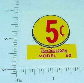 (3) Northwestern Model 60 5 Cent Vend Stickers V-2