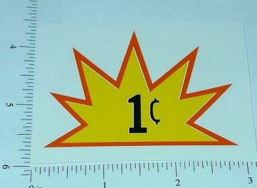 One Cent Starburst Vending Machine Sticker          V-5 Main Image