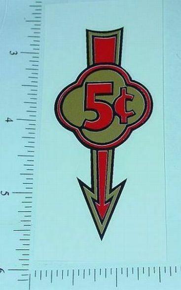 Pair 5 Cent Arrow Vending Machine Stickers V-8 Main Image