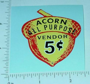 5 Cent Acorn Vending Machine Sticker V-9 Main Image