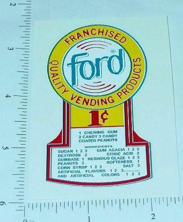 One Cent Ford Gumball Machine Sticker Main Image