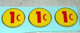 Three (3) Generic 1 Cent Coin Vend Stickers