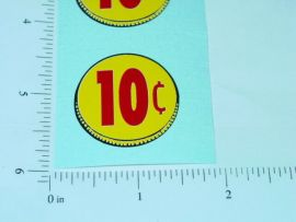 Three (3) Generic 10 Cent Coin Vend Stickers