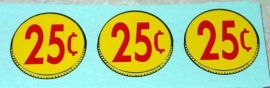 Three (3) Generic 25 Cent Coin Vend Stickers