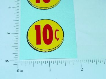 Three (3) Generic 10 Cent Coin Vend Stickers Main Image