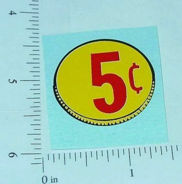 Three (3) Generic 5 Cent Coin Vend Stickers Main Image