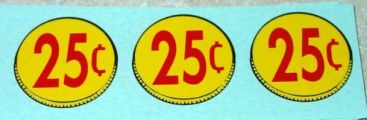 Three (3) Generic 25 Cent Coin Vend Stickers Main Image