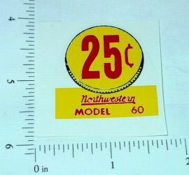 (3) Northwestern Model 60 25 Cent Vend Stickers