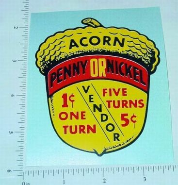 Acorn Penny/Nickel Vending Machine Sticker Main Image