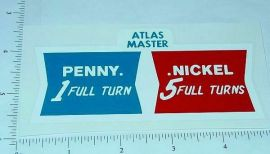 Atlas Master Penny/Nickel Vend Machine Sticker