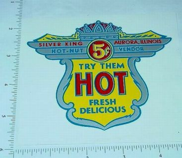 Silver King 5 Cent Hot-Nut Vending Sticker Main Image