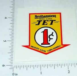 Northwestern 1 Cent Jet Vend Machine Sticker