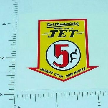 Northwestern Jet 5 Cent Vending Machine Sticker Main Image