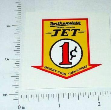 Northwestern 1 Cent Jet Vend Machine Sticker Main Image