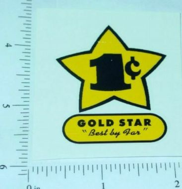 Gold Star 1c Vending Machine Sticker Main Image