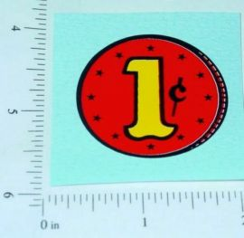 1c Red Coin Generic Vending Machine Sticker