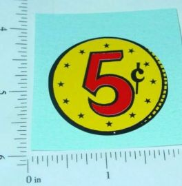 5c Yellow Coin Generic Vending Machine Sticker