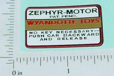 Wyandotte Zephyr Motor Replacement Sticker Main Image