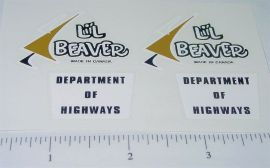 Lil Beaver Dept of Highways Truck Stickers