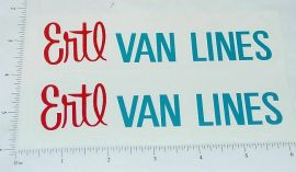Ertl Van Lines Box Van Truck Sticker Set