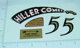 Hiller Comet Tether Car Replacement Sticker Set