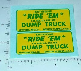 Keystone Ride Em Dump Truck Stickers